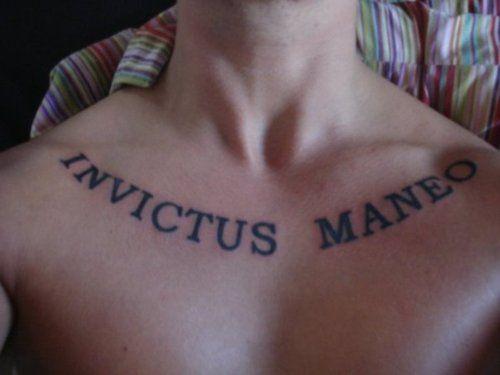 "chest piece ""INVICTUS MANEO"" in English ""I REMAIN ..."