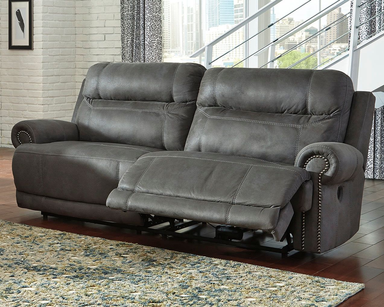 Grey Power Reclining Sofa L Shaped Sets Austere Gray Products