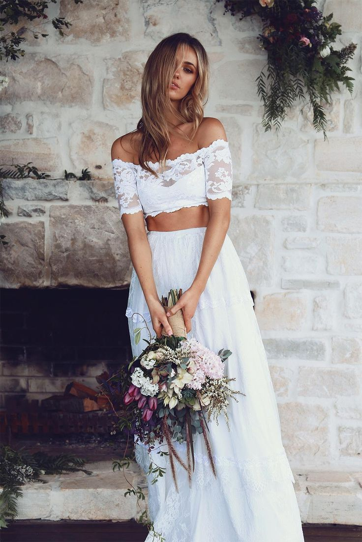 A classic beauty with a modern edge, our Jasmine two-piece gown was ...