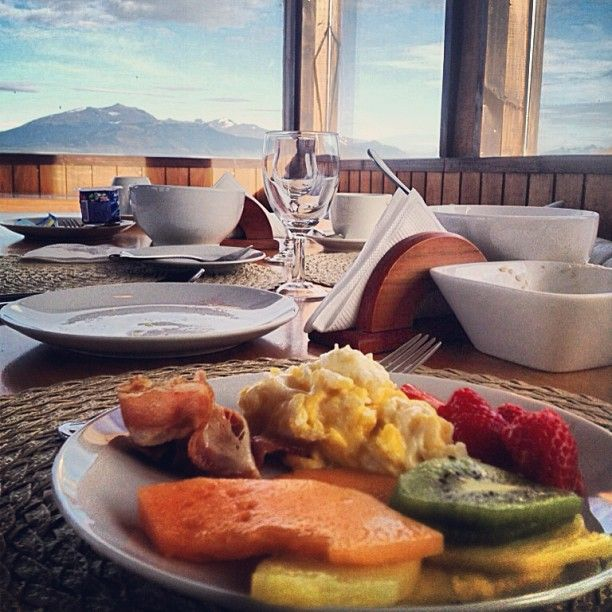 Breakfast with a view in Puerto Natales Patagonia Chile.