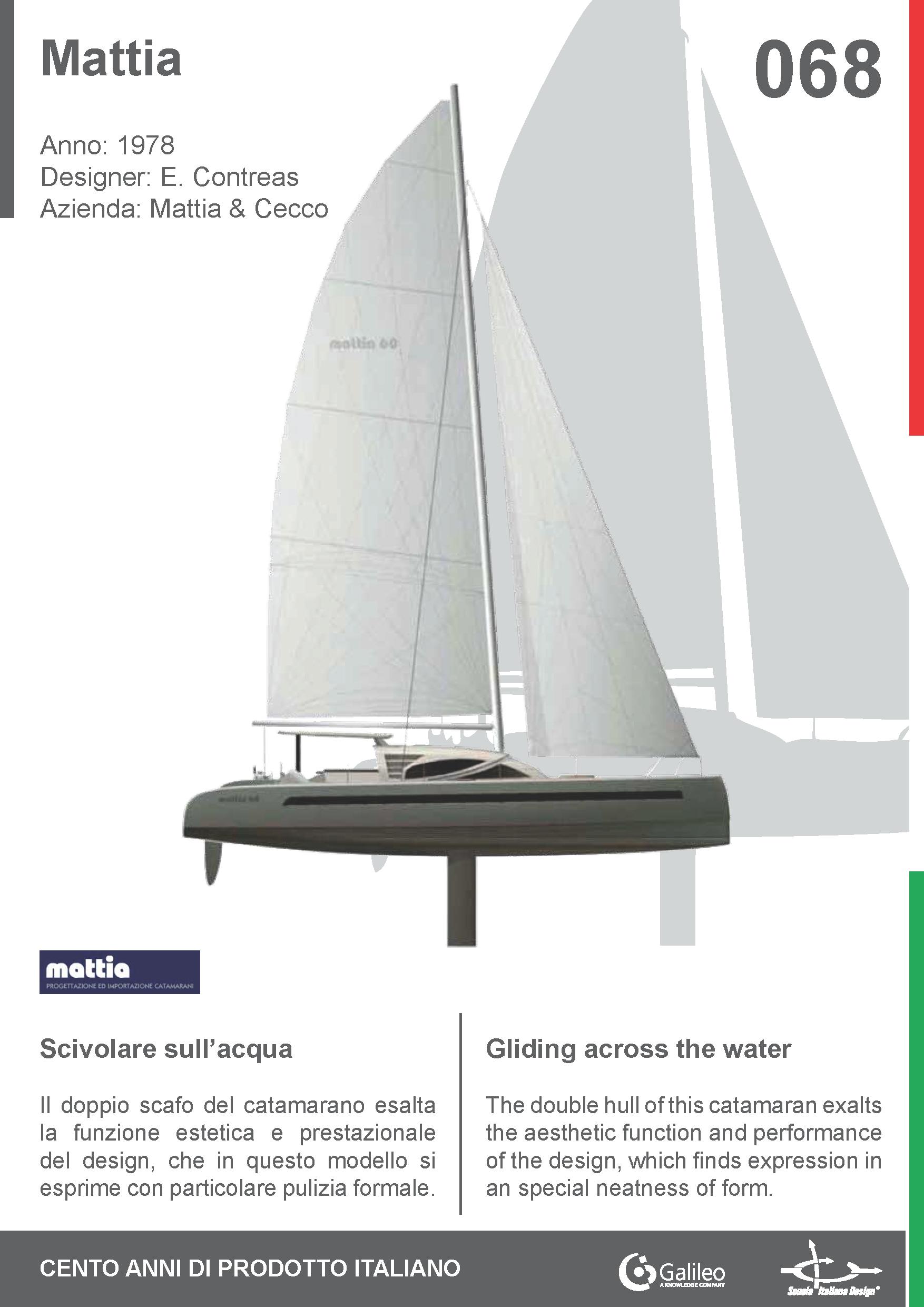 Mattia by Enrico Contreas for Mattia e Cecco (1978) #catamaran #navigation