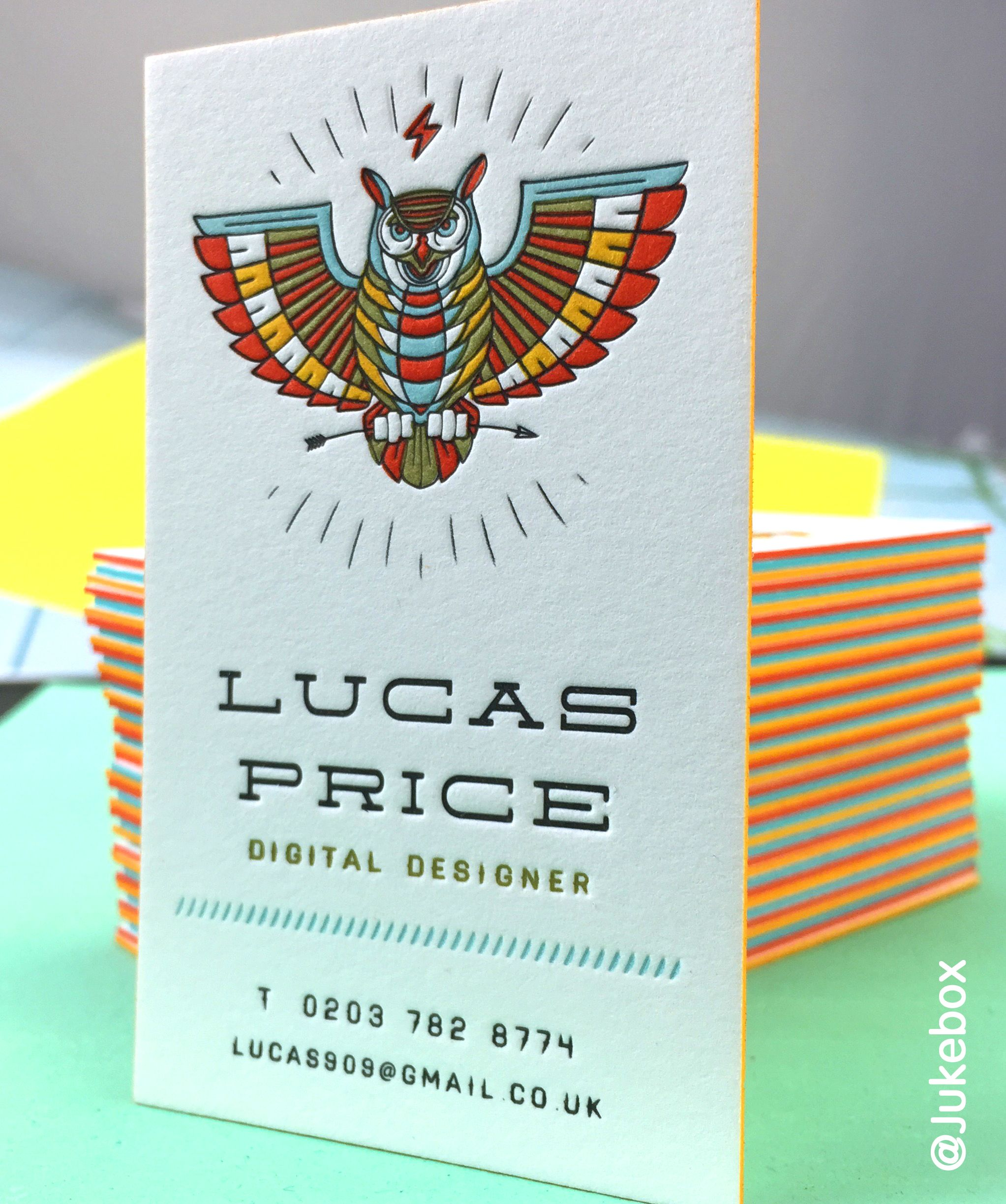 stunning multi colored letterpress business card printed on cotton
