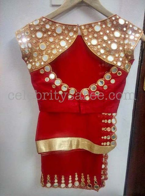 fdd6d60a6915ee Mirror work Blouses with Simple Saris | Designer Blouse Board ...