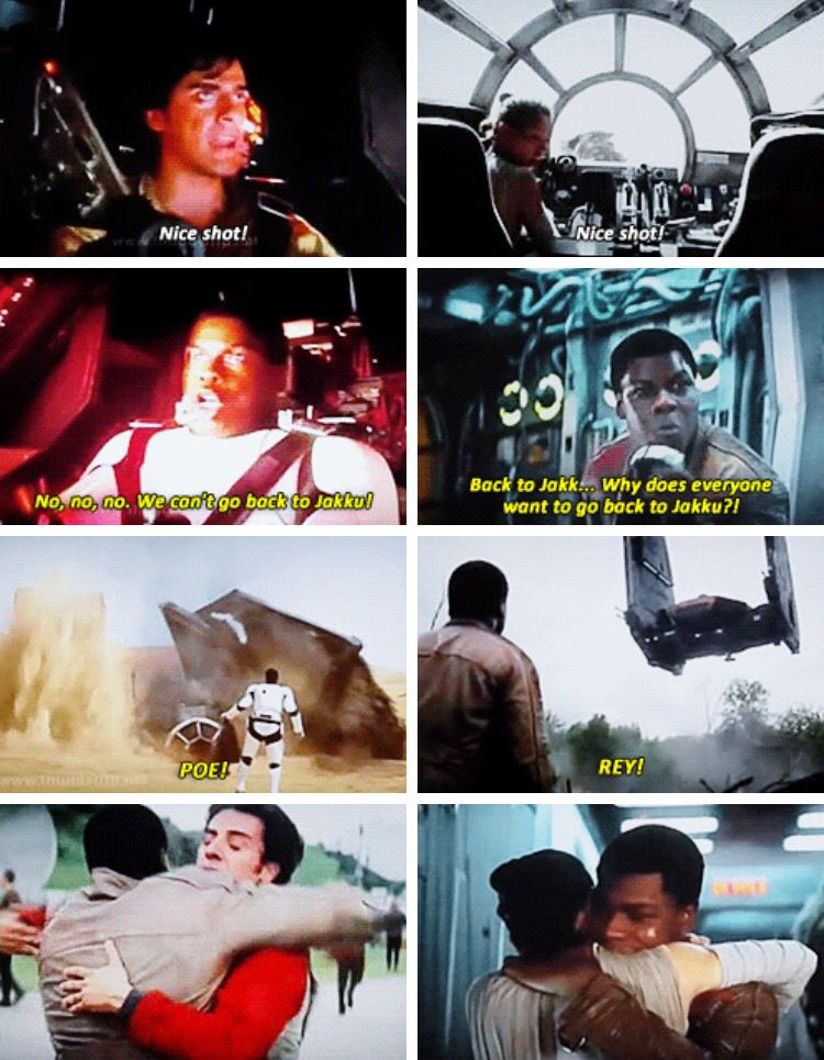 Rey is Finn's lady, and Poe's like his brother- a lot like Han, Leia, and Luke were