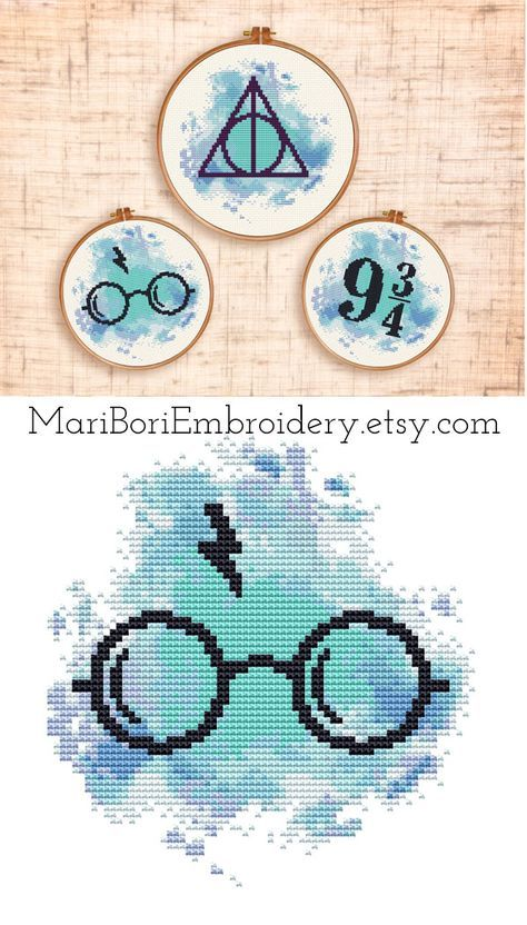Set of three Cross stitch pattern Modern cross stitch Easy Watercolor cross stitch Hogwarts Express cross stitch Platform 9 3/4 Hoop art PDF #printpatterns
