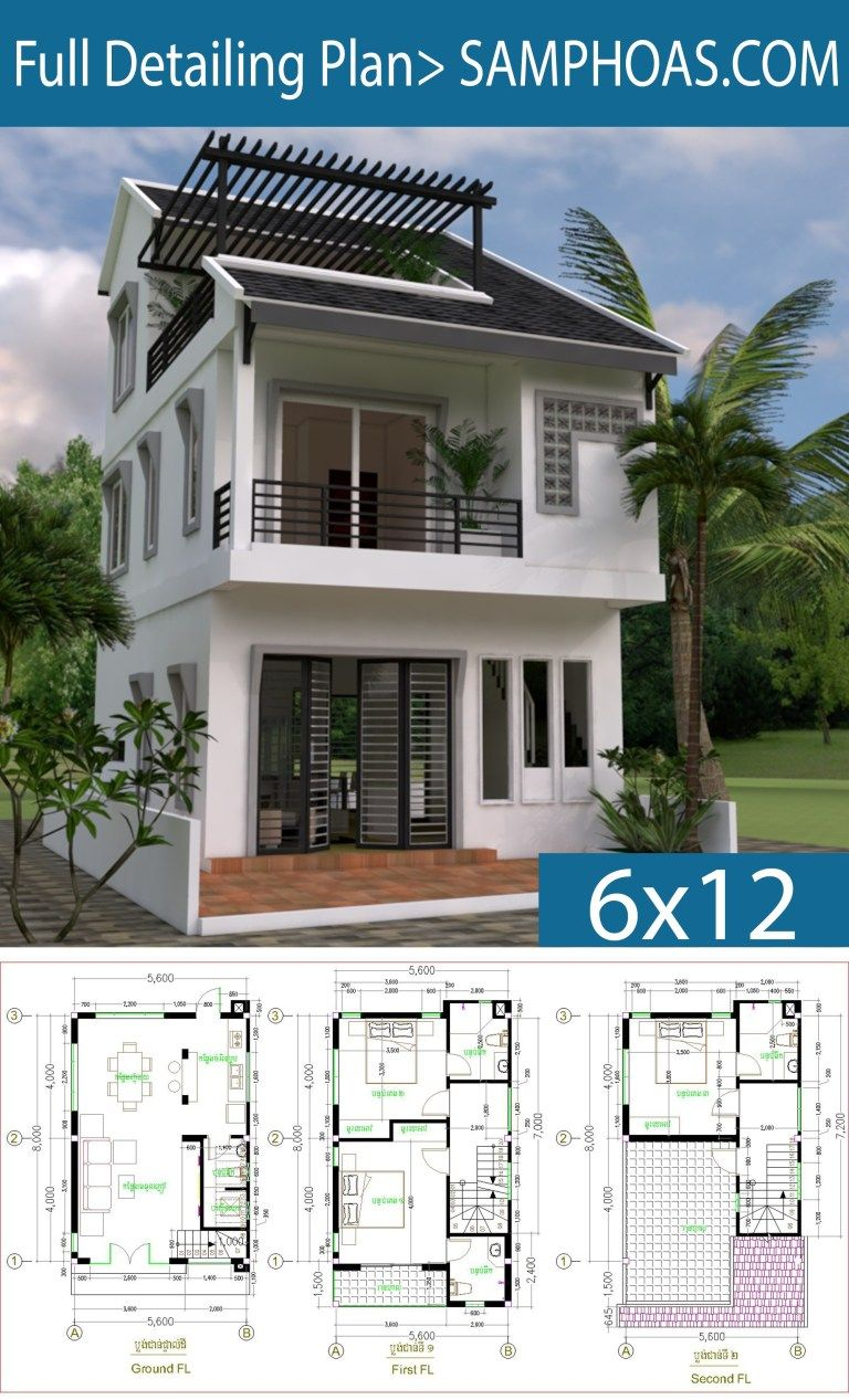 Tiny House 5 6 8m Drawing From 2d And 3d Narrow House Plans Bungalow House Design Small House Design