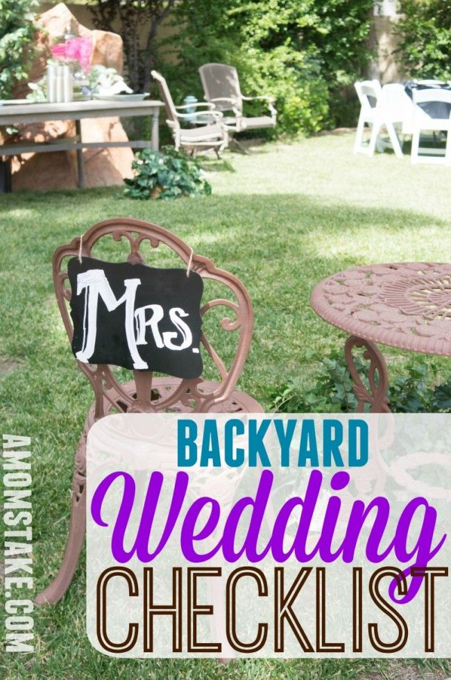 A helpful checklist for planning your backyard wedding! Make sure