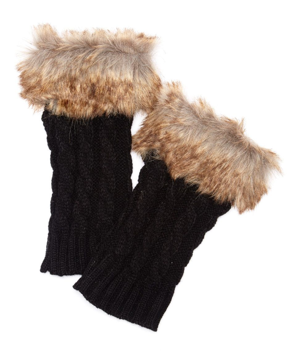 Loving this Black Faux Fur Cable-Knit Arm Warmers on #zulily! #zulilyfinds