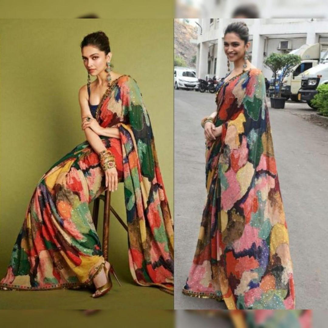 #dipikapadukone #multicolored #printedsaree | Bollywood ...