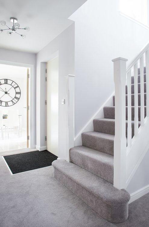 Best Grand Staircase With Grey Carpet And White Wooden Threads 640 x 480