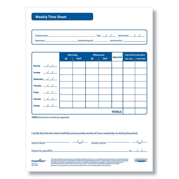 Printable Time Sheet Forms  Printable Weekly Time Sheets  Time