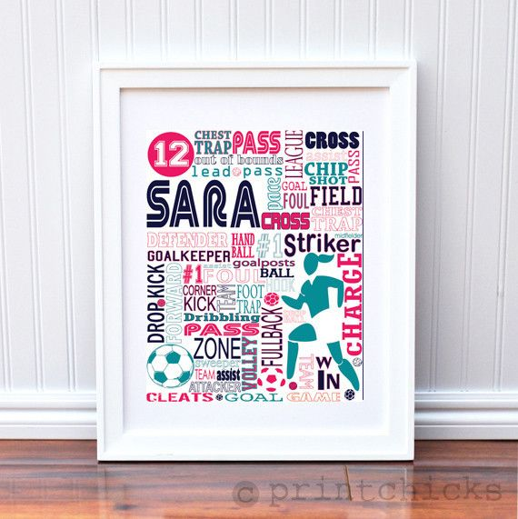 Soccer Poster - Personalized Girls Soccer Decor - Soccer Team Prints - Sport Typography Print - Girls Soccer Decor - Girls Soccer – PrintChicks