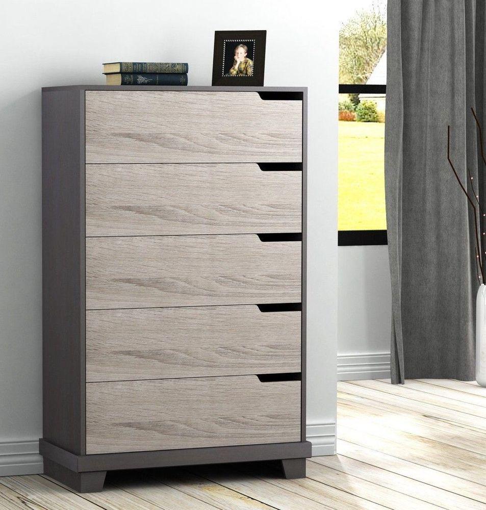 5 Drawer Storage Dresser In 2 Tone Wood Bedroom Modern Chest