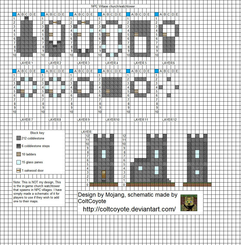 Minecraft Tower Blueprints Layer By Layer