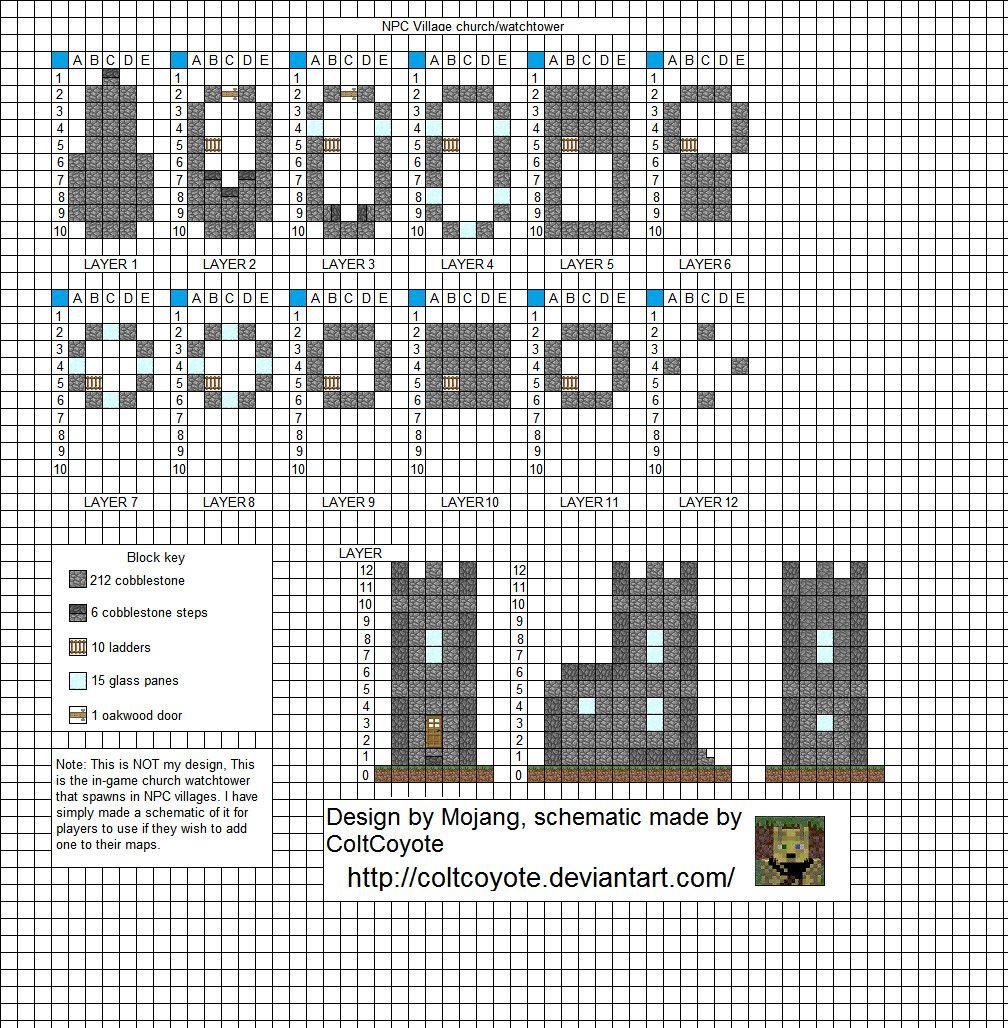 . Village Watch Tower   Minecraft Blueprints   Minecraft construction