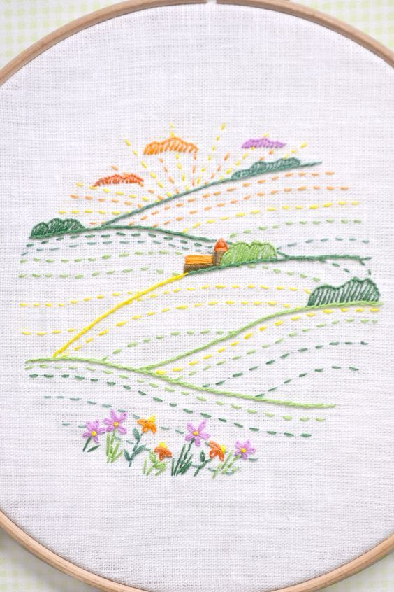 Summer Landscape Hand Embroidery Pattern Pdf Digital Download