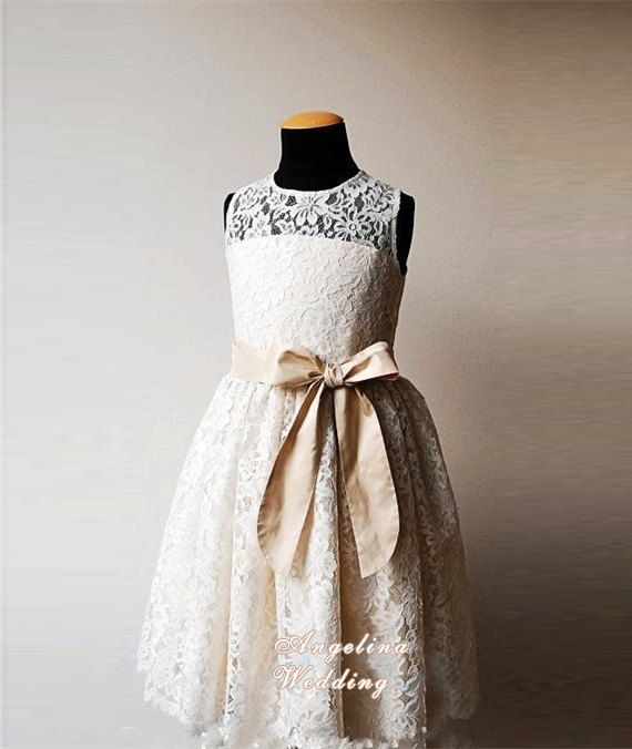 Flower Girls' Dresses Ivory, Lace, Chiffon Flower Girl Dress, made for girls, toddlers, ages 1T, 2T,3T,4T, 5T, 6, 7, 8, 9/10