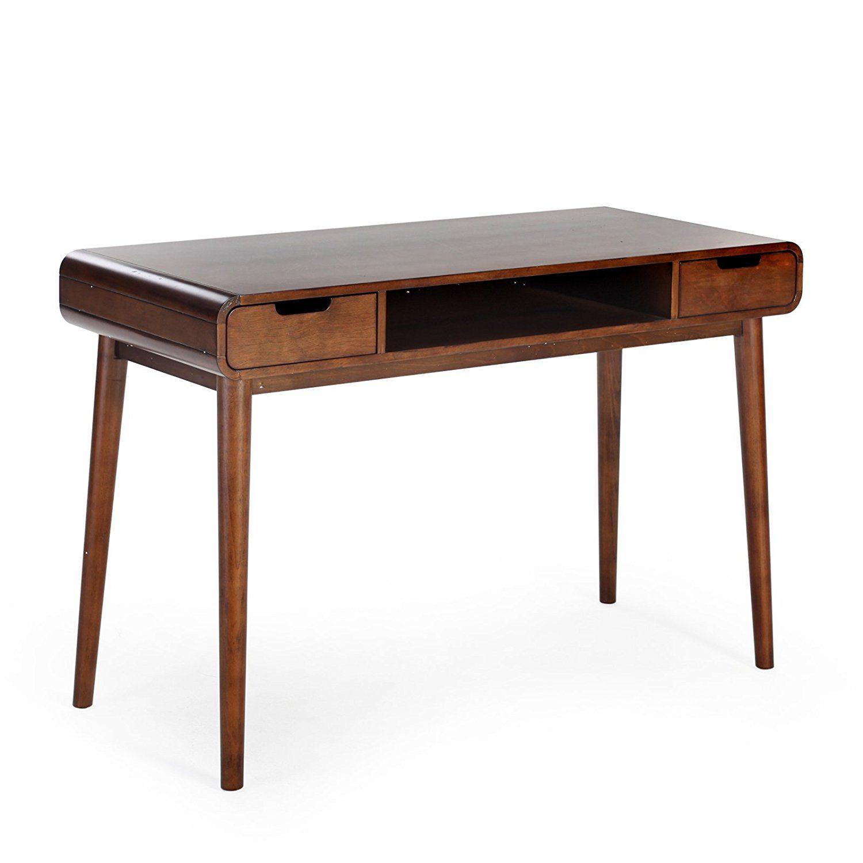 Amazon Com Belham Living Carter Mid Century Modern Writing Desk Kitchen Dining Writing Desk Modern Writing Desk Mid Century Desk