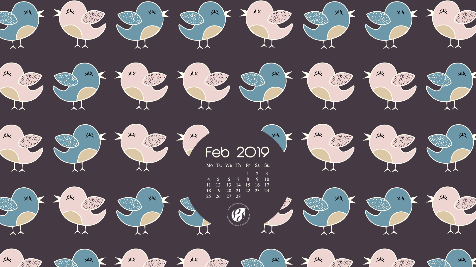 Feb 2019 free calendar wallpapers & planner illustrated