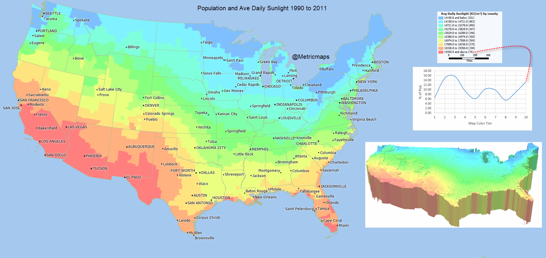 Darkest Places In The Us Map A Map Of Where In The U.S. You Get The Most Sunlight | Map