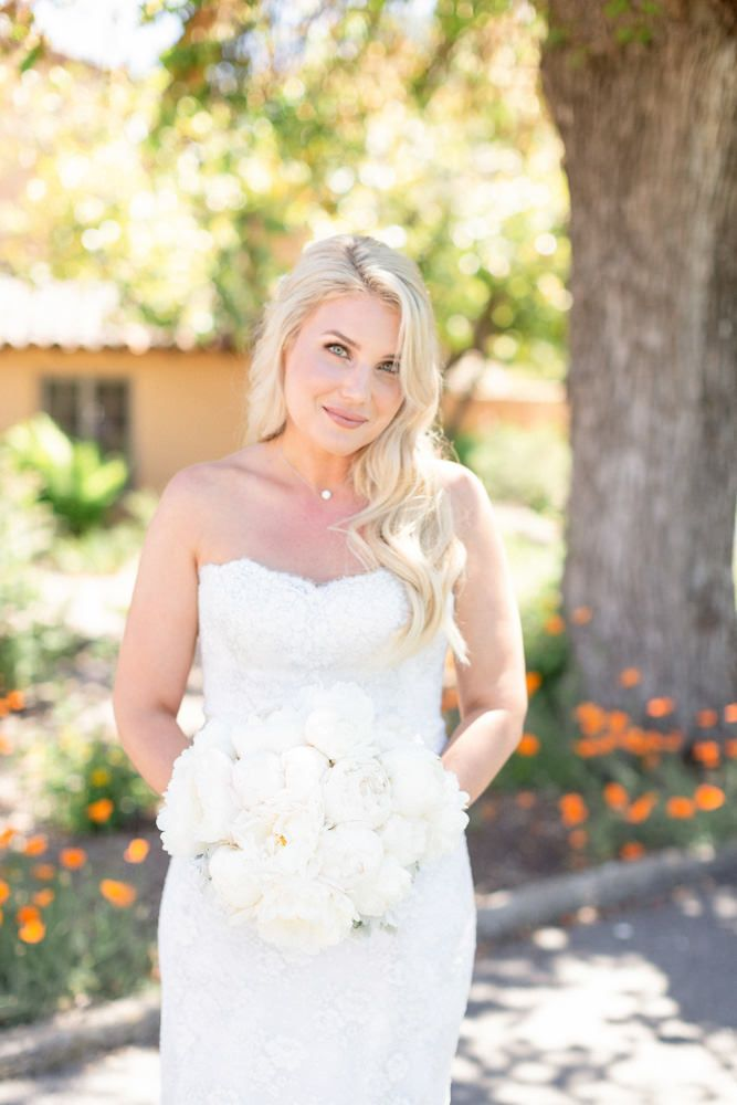 Bride And White Bouquet At Her Santa Lucia Preserve Wedding