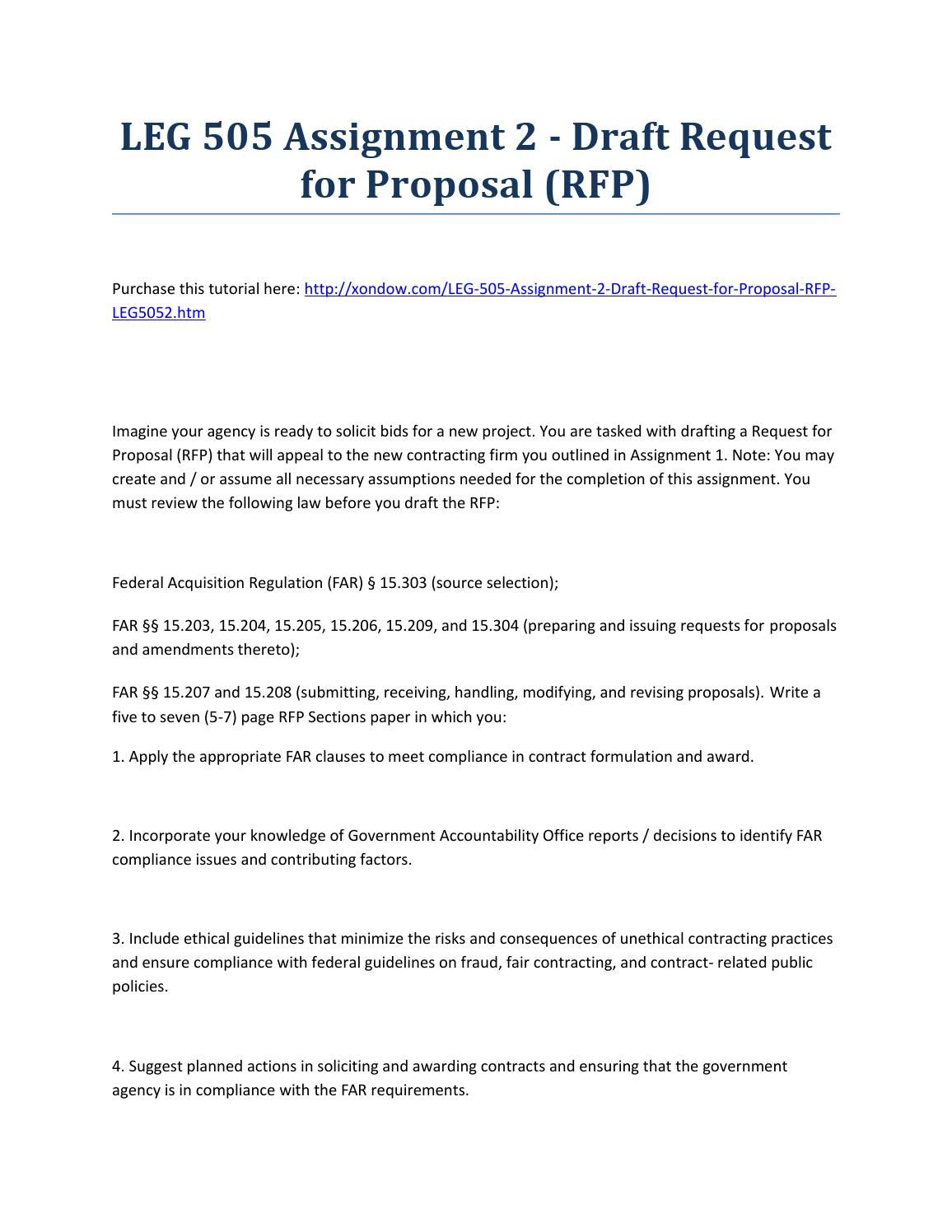 Leg 505 Assignment 2 Draft Request For Proposal Rfp Strayer University New