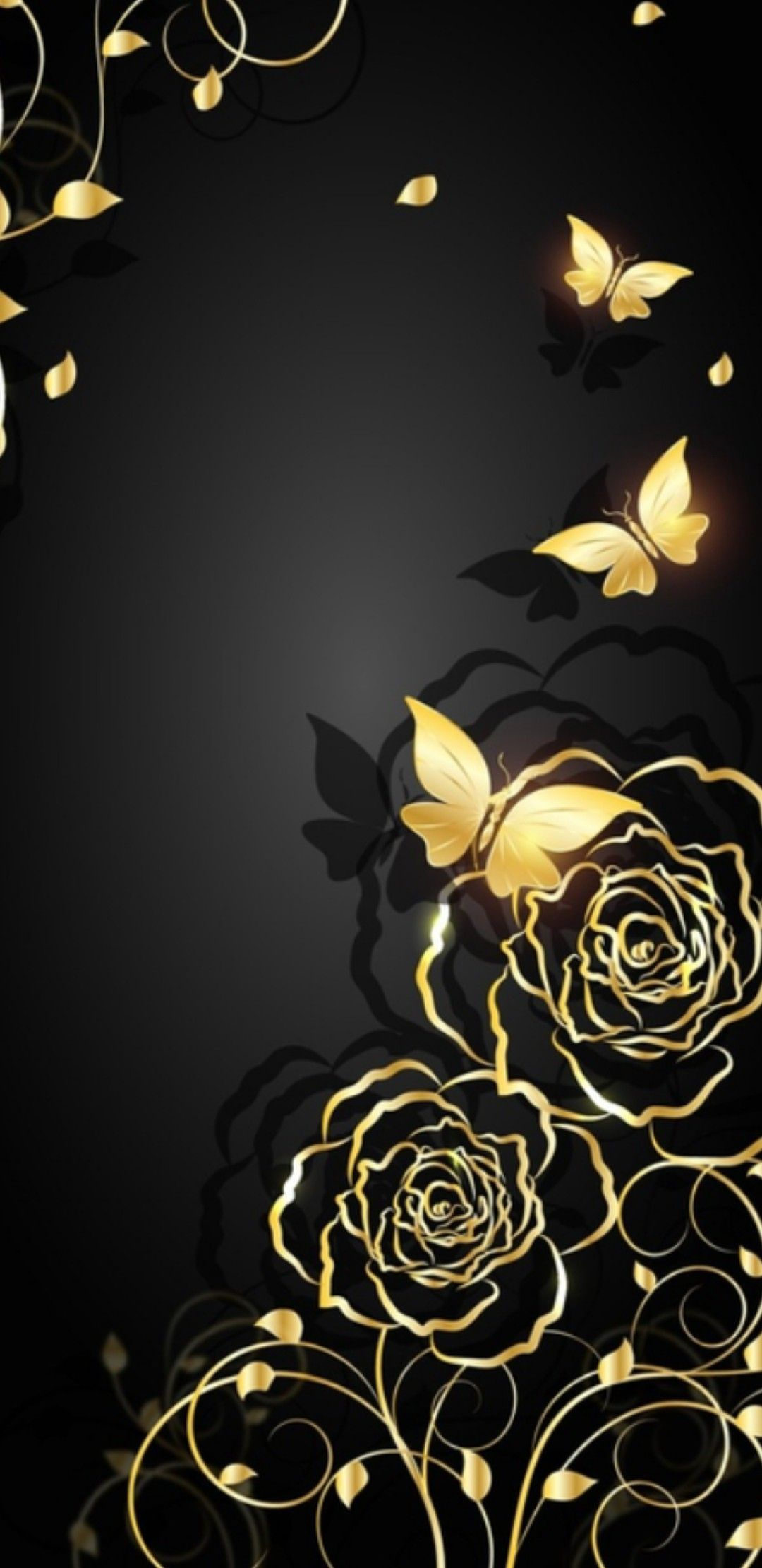 Black and Gold I Wallpaper Roses and Butterflies in 2020