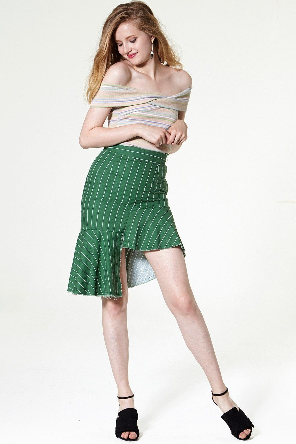 Lauren Asymmetric Striped Mini Skirt Discover the latest fashion trends online at storets.com