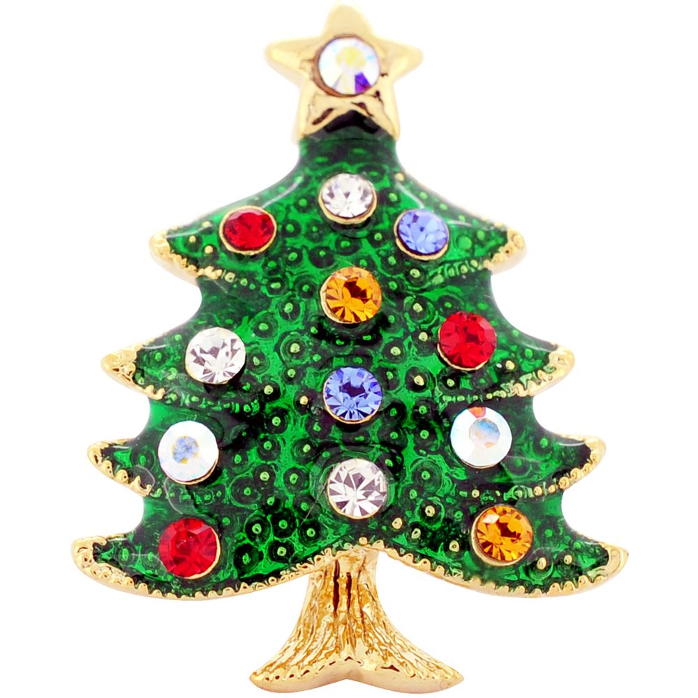 Multicolor Christmas Tree Swarovski Crystal Lapel Pin | Bejeweled ...