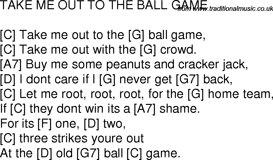 Old time song lyrics with chords for Take Me Out To The Ball Game C ...