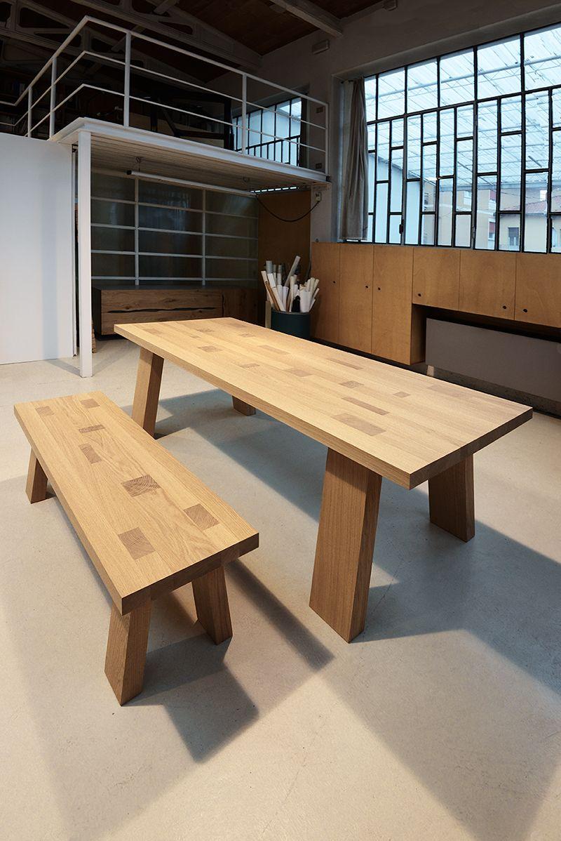 Tavolo e panca mod tetrix in legno massello di rovere tavoli legno massello pinterest - Panca e tavolo cucina ...