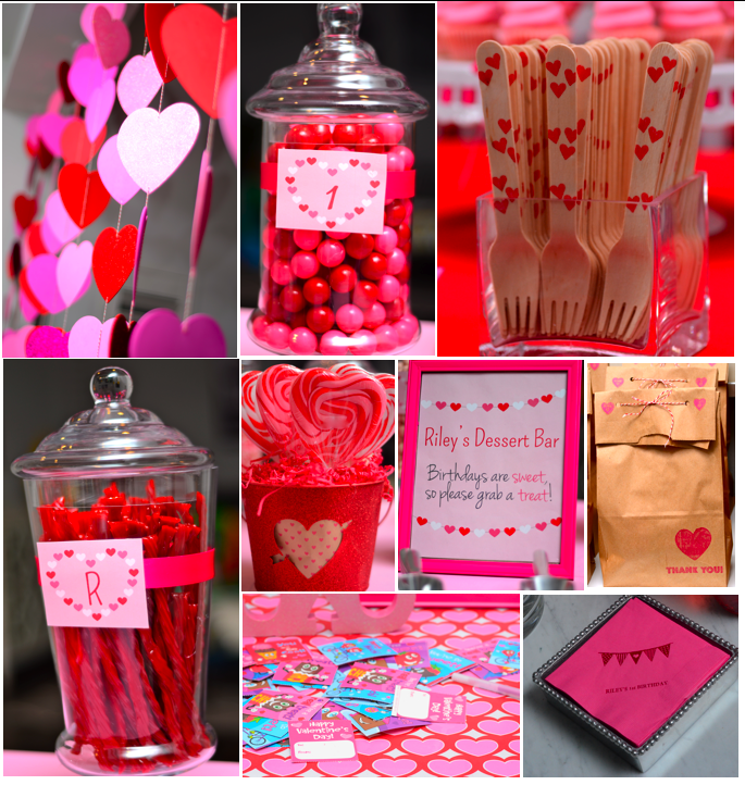 Valentine S Garlands And Details Heart Forks Valentines Birthday Party Valentine Birthday 1st Birthday Parties
