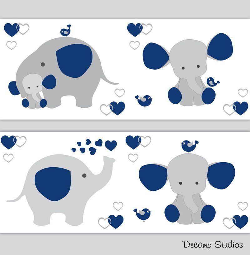 Navy Blue Elephant Nursery Wallpaper Border Baby Boy Wall Art