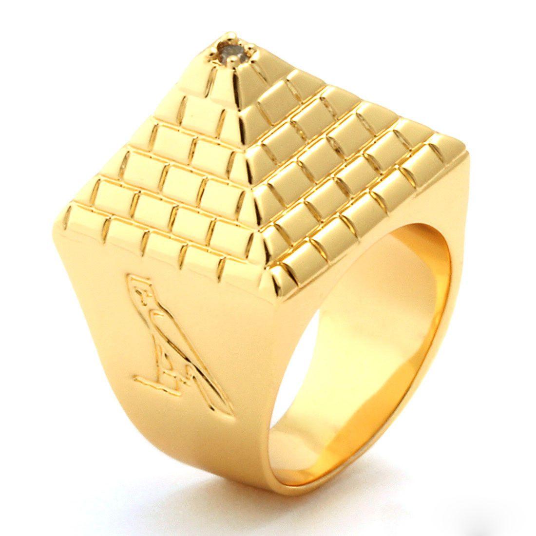 2b51468ac King Ice 14k Gold Egyptian Pyramid Ring | Stuff to buy | Mens gold ...