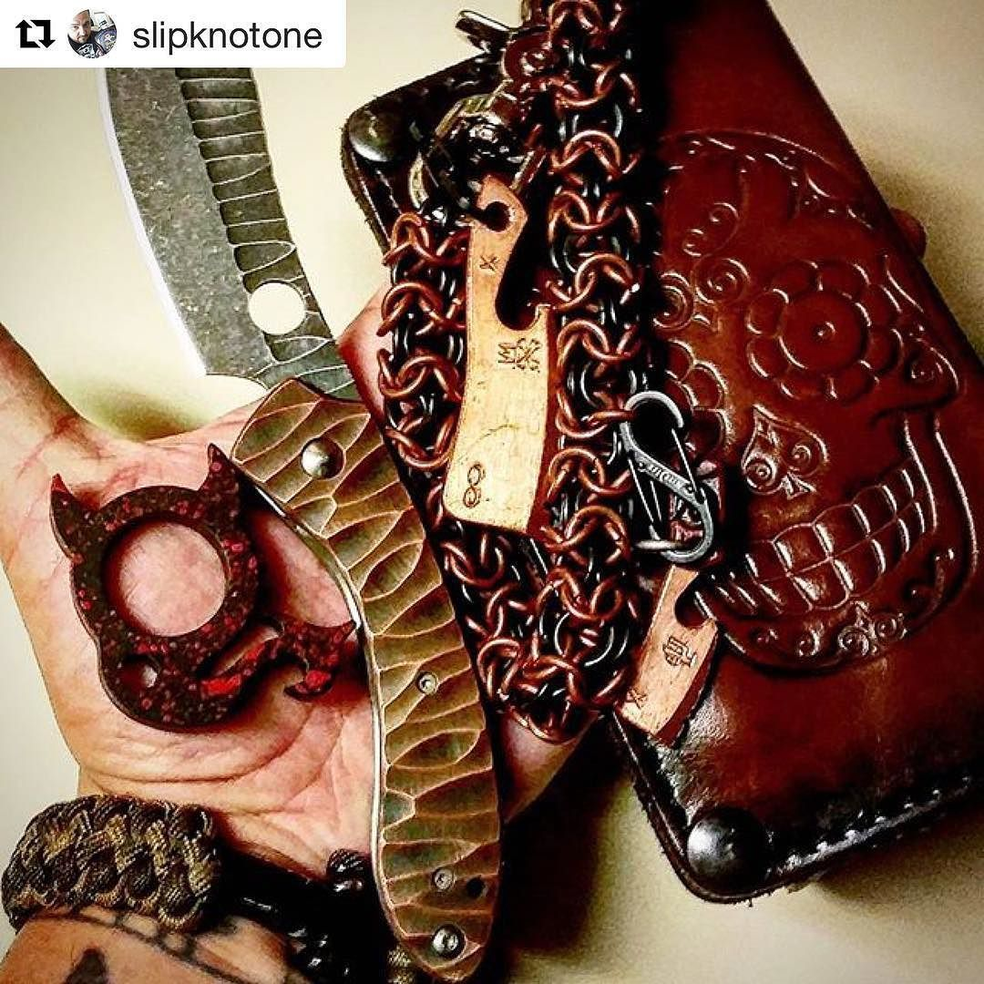 Customer Photo By: #Repost @slipknotone  #Headingoutforcoctailscarry with the sweetest #bikerwallet #sugarskull style with the kickass #copper chain from my man at @anvilcustoms and some copper on the @spyderco_inc #roc that was done by @dlawcustomknives. Sporting that #tacticalbling by @knottydans and one over my #lildevils in case some  #mayhem ensues.  Oh and of course there's some #beveragecleavers from @wastelandoddities hanging off that chain. #edc #blade #darkside #carpediem…
