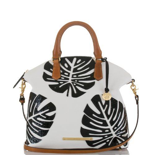 The #Brahmin Large Duxbury Satchel in White Monaco is a great everyday bag with a convertible shoulder strap