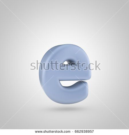 Serenity Color Letter E Lowercase D Render Of Bubble Blue Font
