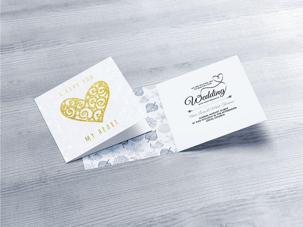 Square Invitation Greeting Card Mockup Invitation Mockup Free Invitations Mockup Design