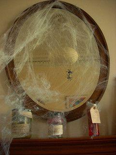 spider webs on mirror