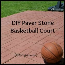 A mom 39 s diy backyard basketball court from paver stones for How much to build a backyard basketball court