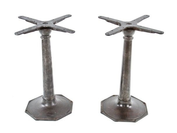 1900u0027s Tapered And Turned Refinished Cast Iron Pub Table Bases With  Octagonal