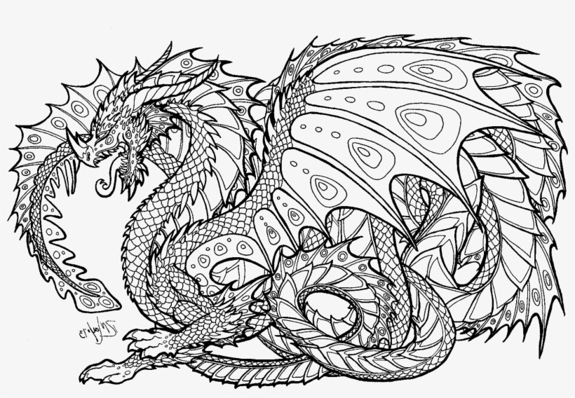 Dragon Coloring Pages Realistic For Adults Adult Colouring ...