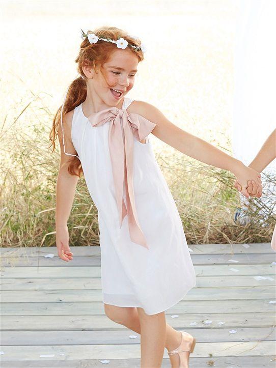 robe demoiselle d 39 honneur plis blanc rose pale costume enfant d 39 honneur pinterest rose. Black Bedroom Furniture Sets. Home Design Ideas