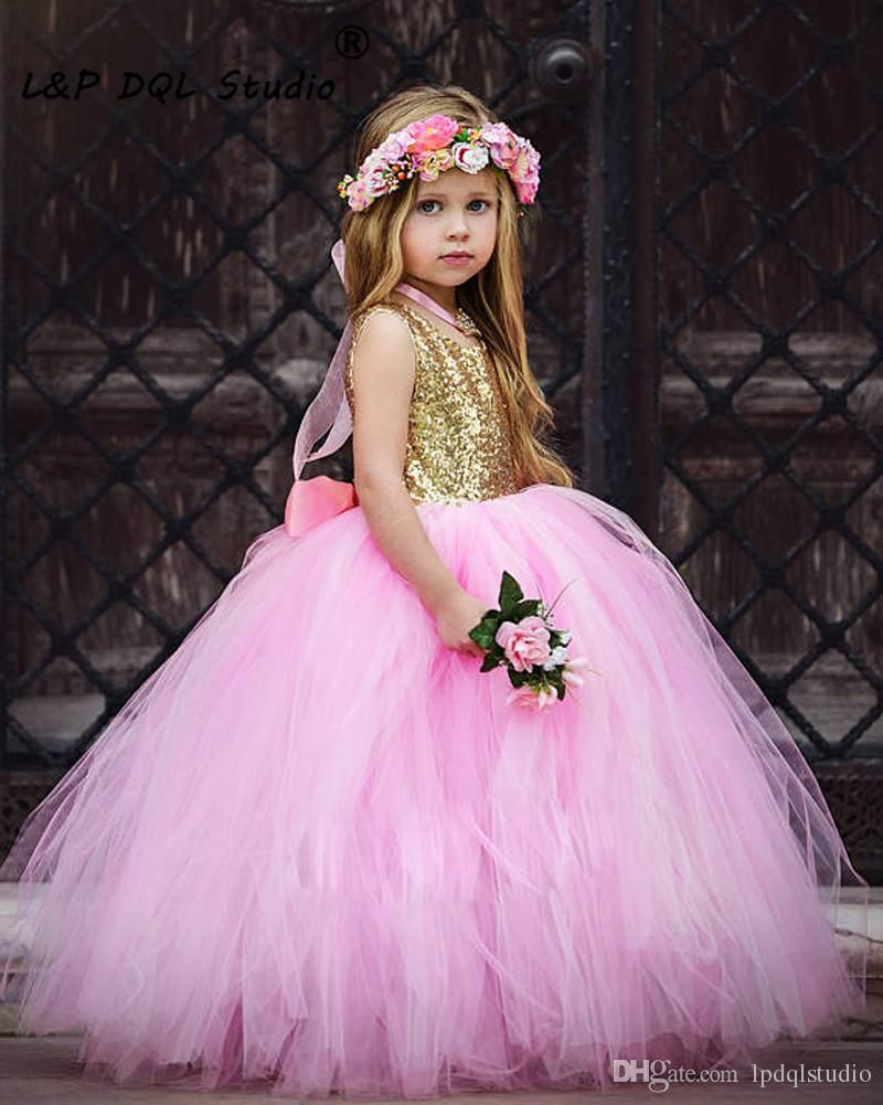 Pink And gold Sequined Flower Grils Dresses Scoop Open Back Ball ...