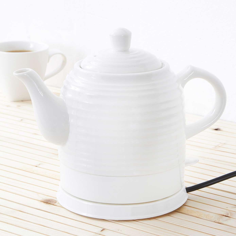 Vintage Ripple White Ceramic Kettle Vintage Tea Kettle Ceramics Electric Tea Kettle