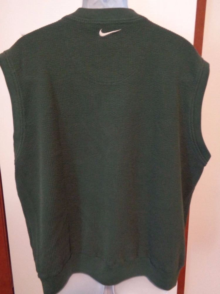 deffe2161986 Nike GOLF Mens Sweater Vest Dark Hunter Green Heavy Cotton Sz XL Warm  Nike   Sweater