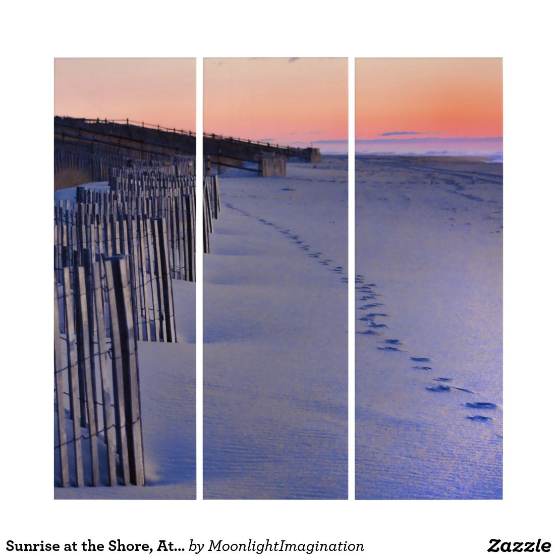 Sunrise at the Shore, Atlantic Ocean  Wall Art Triptych #homedecor #art #beach #coastal #sunrise #zazzle #gifts