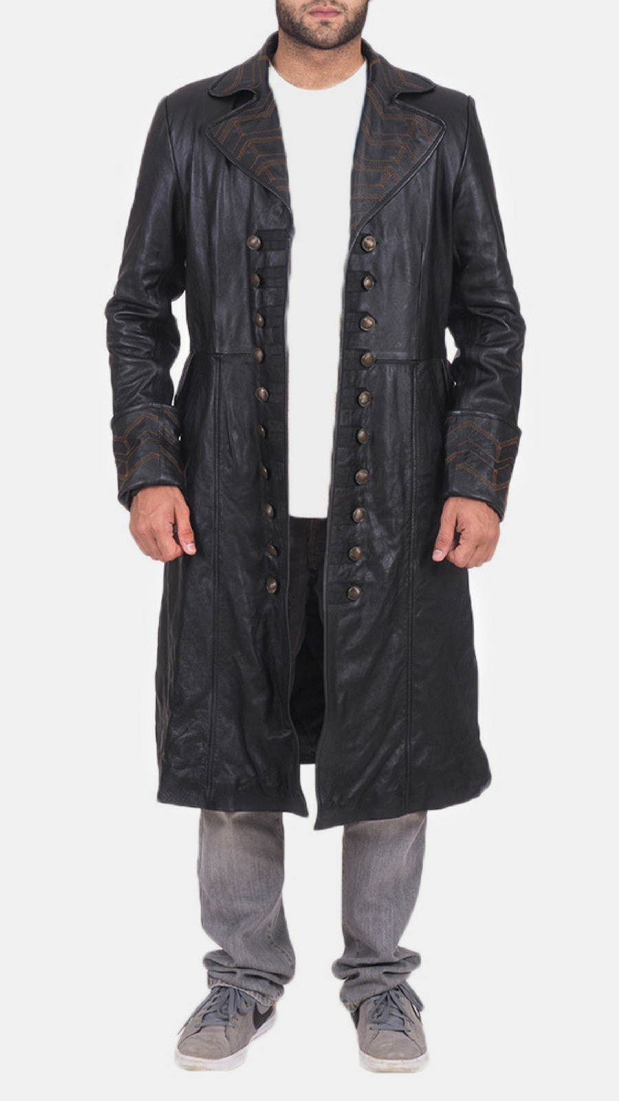 Coat Worldwide Mens Black Pirate Shipping Free Leather 9HbeYIED2W