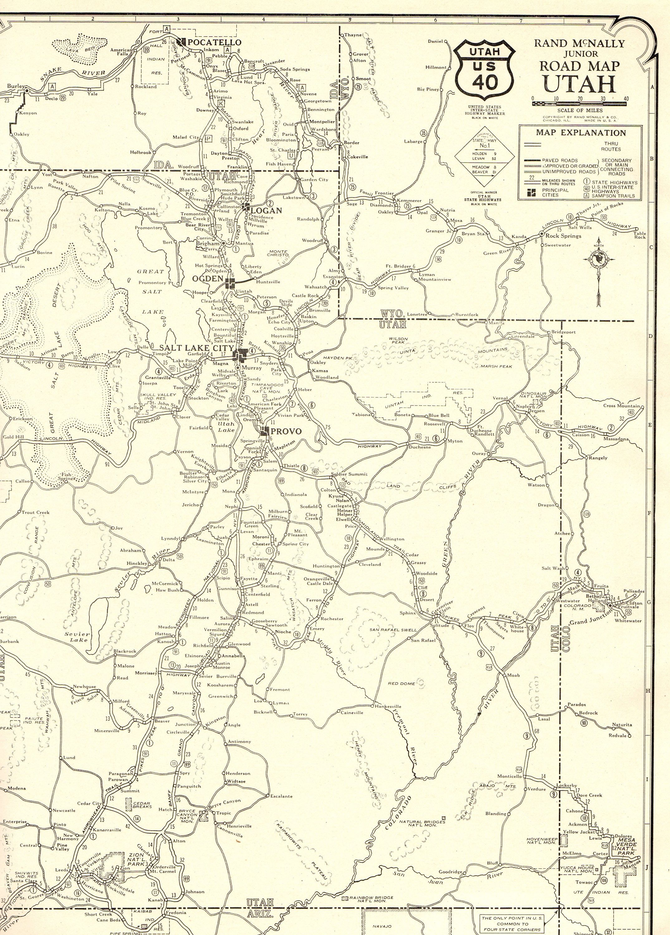 1927 Rare Antique UTAH Map Vintage Map of Utah Road Map ...