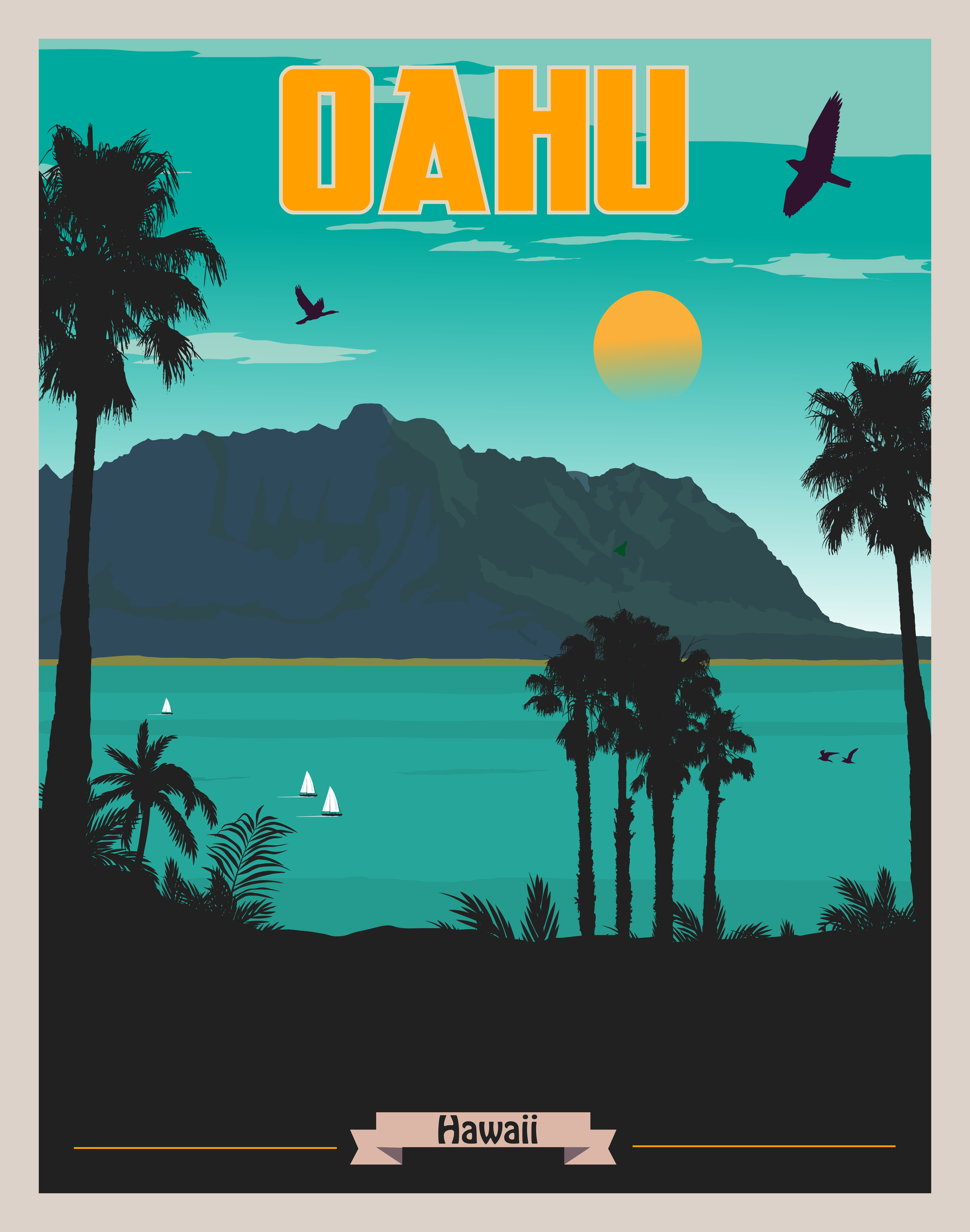 Oahu Hawaii Vintage Style Travel Posters